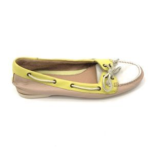 Sperry Topsider Soft Leather Loafer Yellow/Cream 9